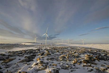 WInd power in Norway in snowie landscape