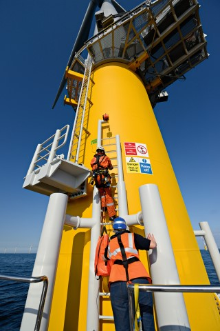 Maintenance on one of the wind turbines on Sheringham Shoal