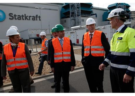 German minister of finance Peer Steinbruck visits combined cycle power plant in Knapsack Germany