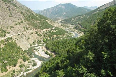 River between hills in albania